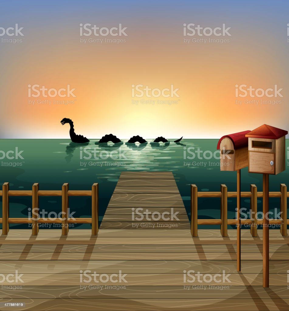 Sunset at the port with two wooden mailboxes royalty-free stock vector art