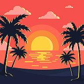 sunset & beach background