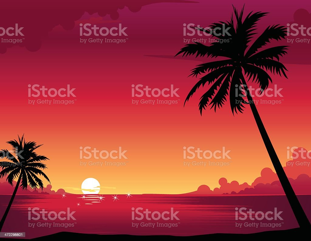Sunset Beach vector art illustration