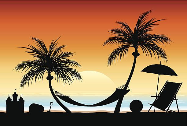 illustrations, cliparts, dessins animés et icônes de coucher de soleil sur la plage - chateau de sable