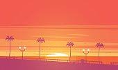 Sunset beach. Vector illustration.
