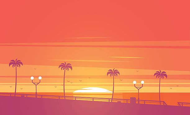 plaża zachód słońca. ilustracja wektorowa. - zachód słońca stock illustrations