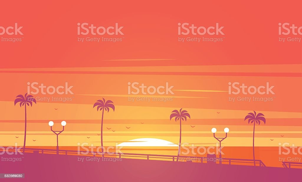 Coucher de soleil sur la plage. illustration vectorielle. - Illustration vectorielle