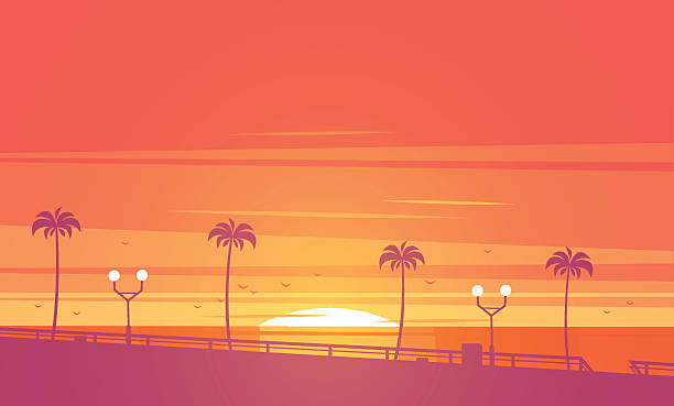 Sunset Beach Vector Illustration Art