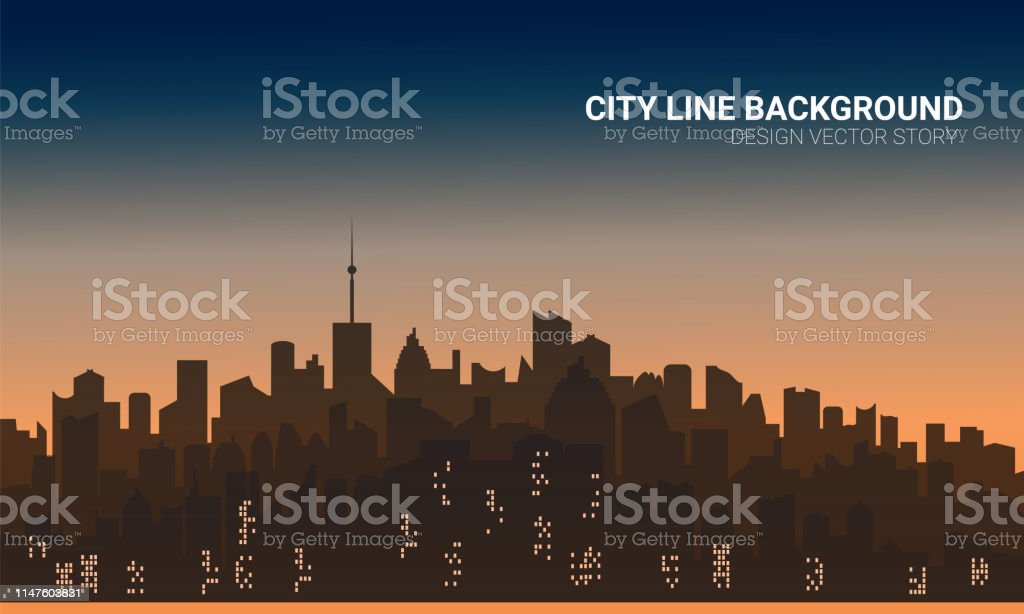 Sunset City Silhouette Background Skyline Wallpaper With