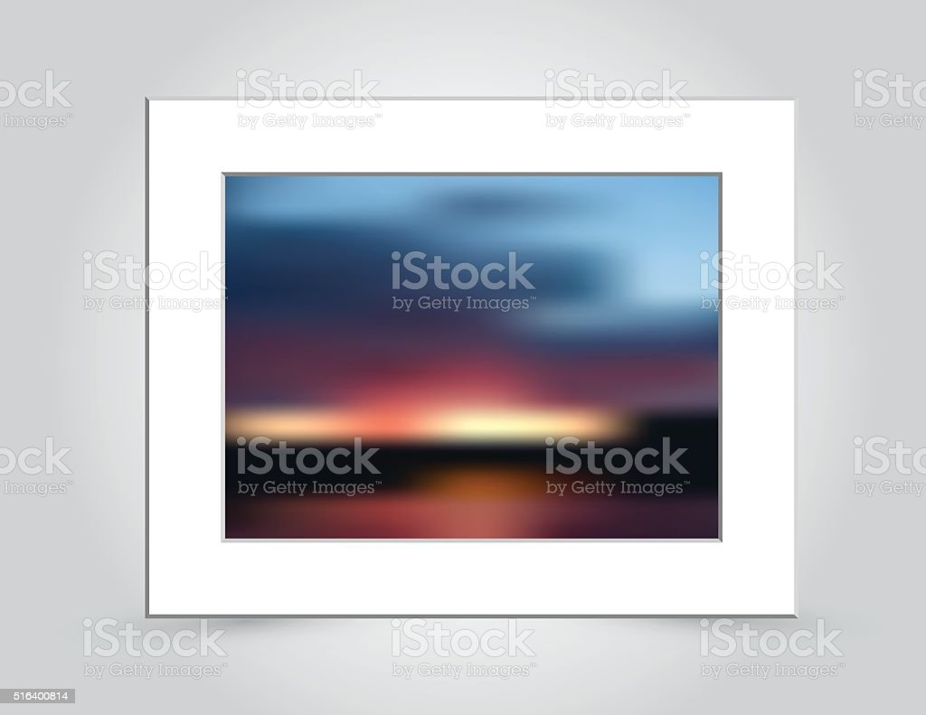 Sunset Colors Abstract Blur in Mat Frame vector art illustration
