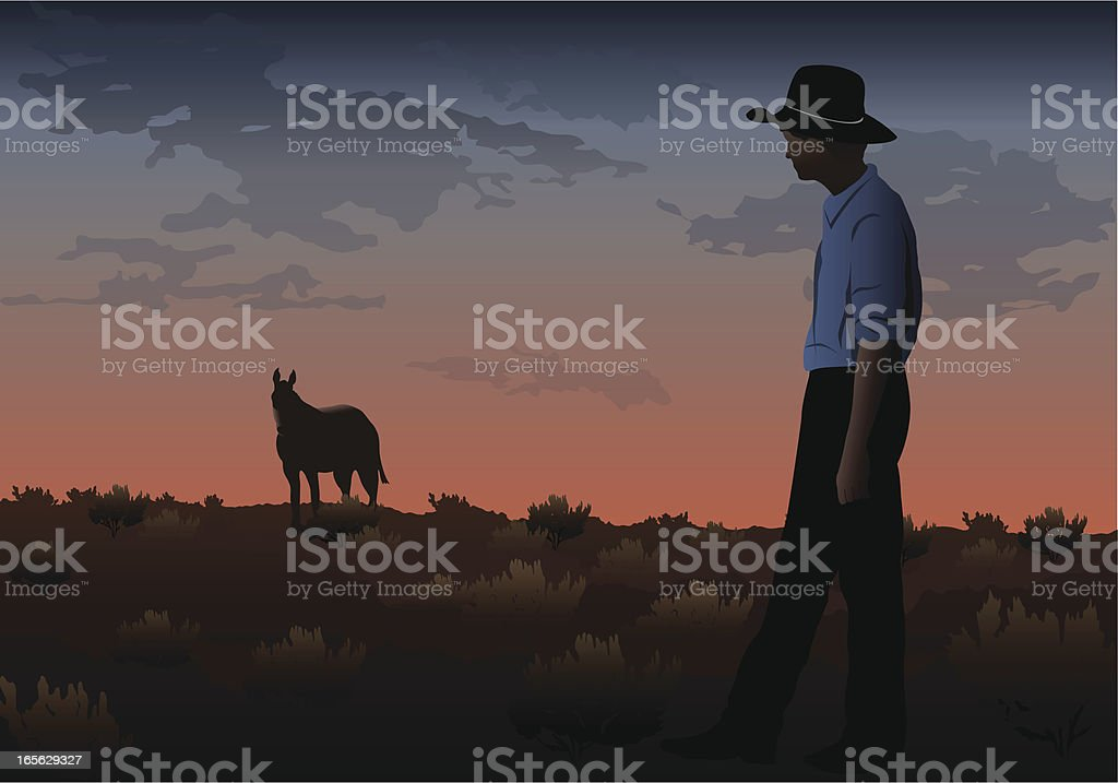 Sunset Cowboy royalty-free sunset cowboy stock vector art & more images of adult