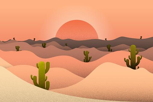 Sunset Desert and Cactus Landscape illustration. Vector Stock illustration.