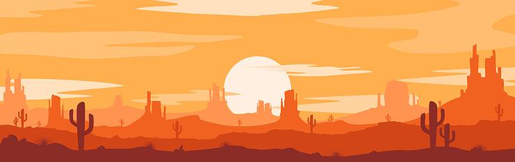 Sunset desert concept