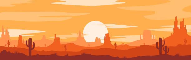 sonnenuntergang serden-wüstenkonzept - canyon stock-grafiken, -clipart, -cartoons und -symbole
