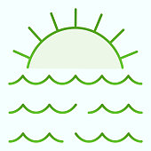 Sunset flat icon. Sunset and sea waves illustration isolated on white. Marine Sunset gradient style design, designed for web and app. Eps 10