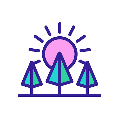 sunset forest icon vector. sunset forest sign. color contour symbol illustration