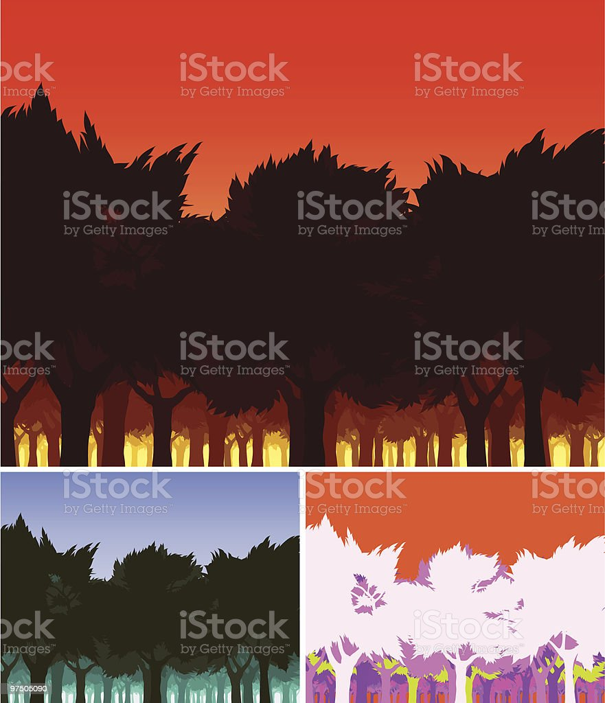 Sunset Forest royalty-free sunset forest stock vector art & more images of abundance