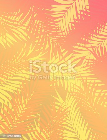 istock Sunset Gradient Background of Tropical Trees and Leaf Foliage in Yellow and Pink Template 1212541886