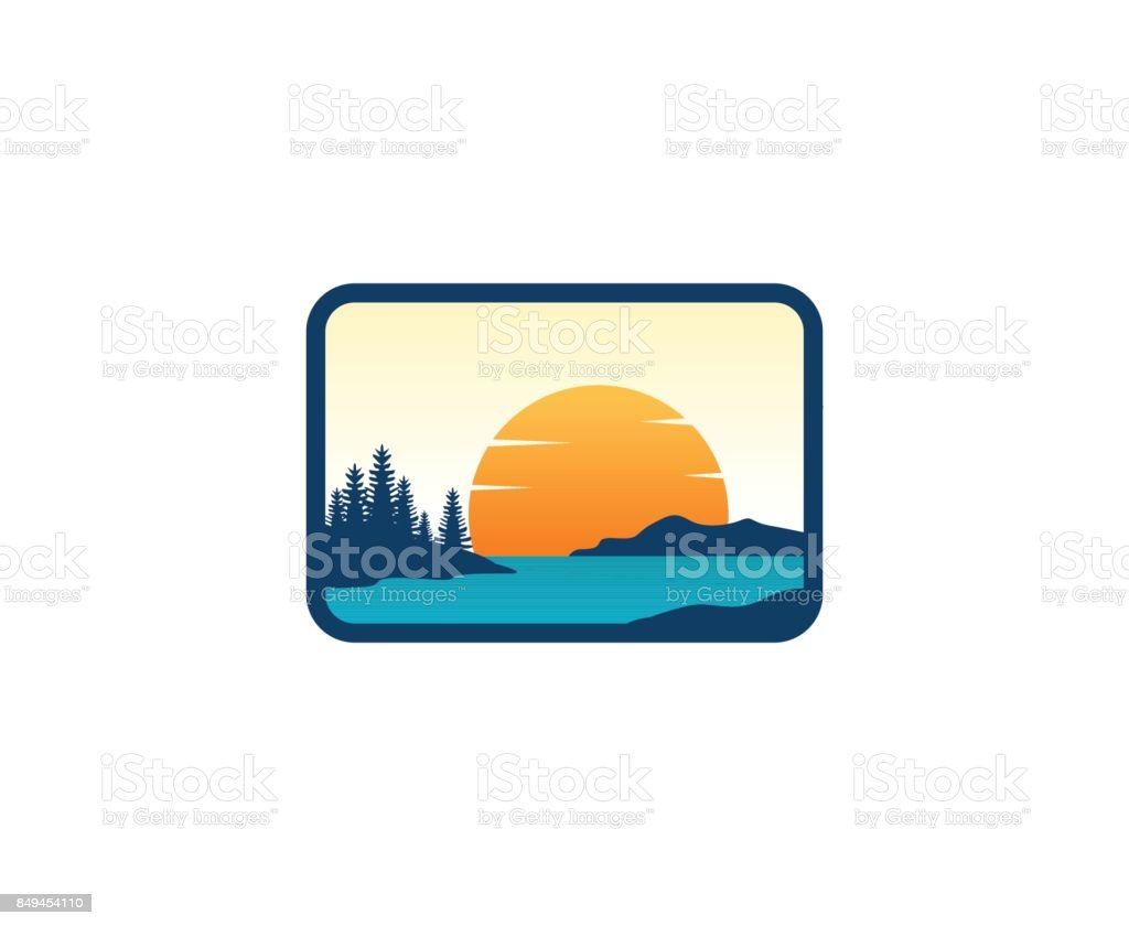 Sunset icon vector art illustration
