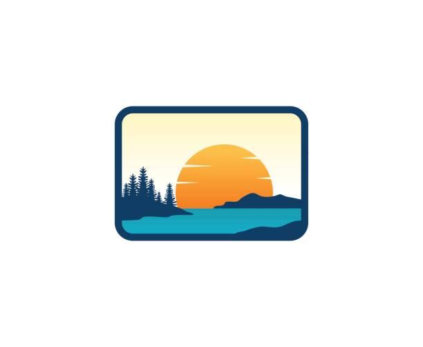 ilustraciones, imágenes clip art, dibujos animados e iconos de stock de icono de puesta del sol - lago