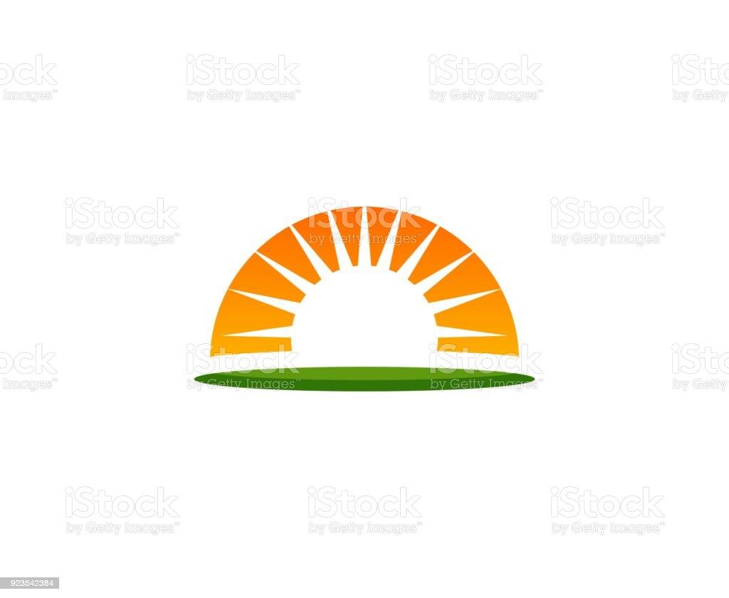 Sunset icon vector art illustration