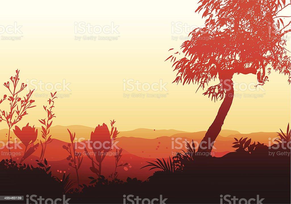 Sunset in a valley vector art illustration