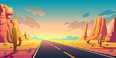 Sunset in desert with road, cactuses and rocks. Vector cartoon landscape of highway in Arizona or Mexico hot sand desert with orange mountains. Summer sunrise in western american valley