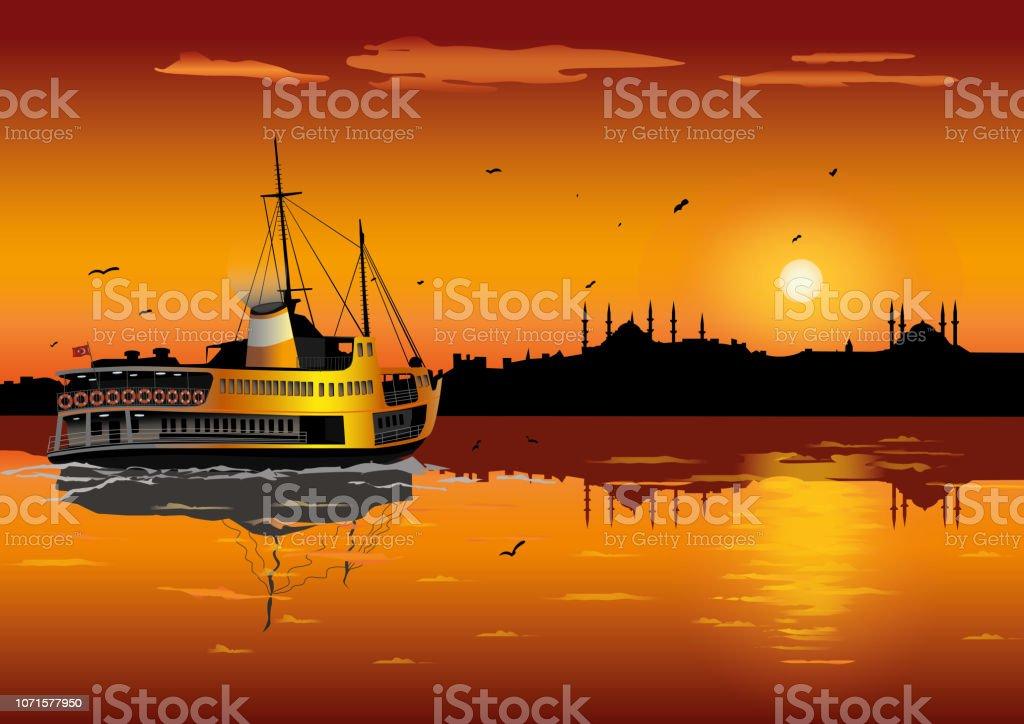 Sunset in istanbul silhouette vector art illustration