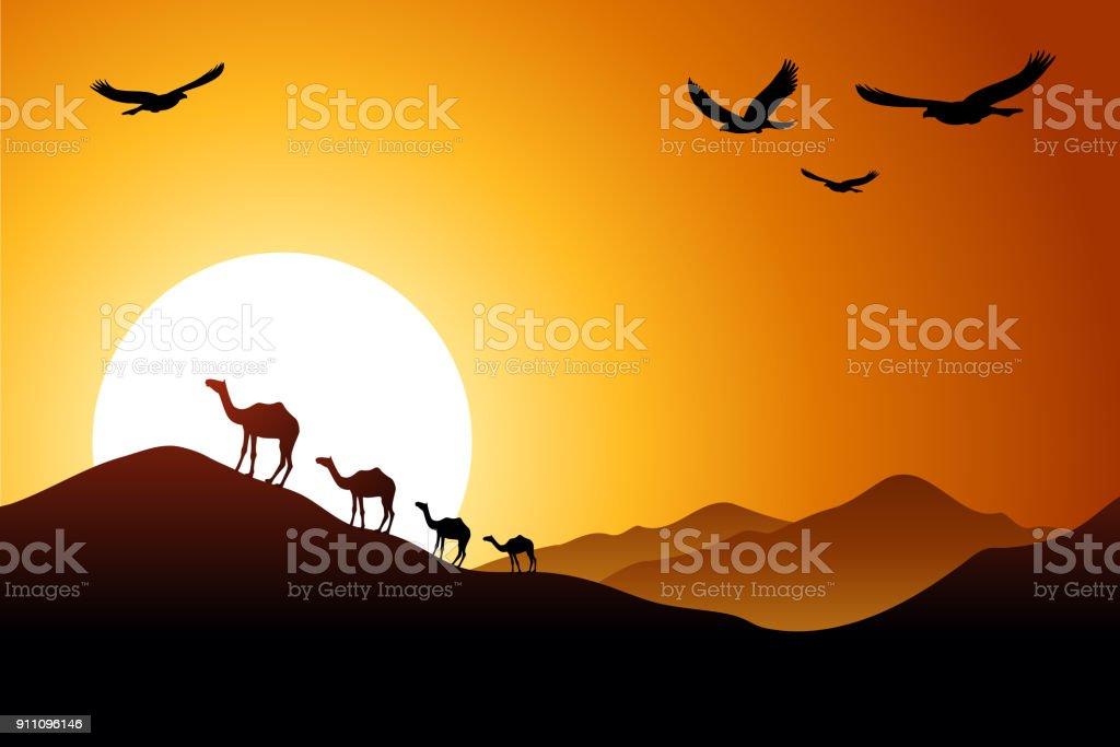 砂漠の夕日 ベクターアートイラスト