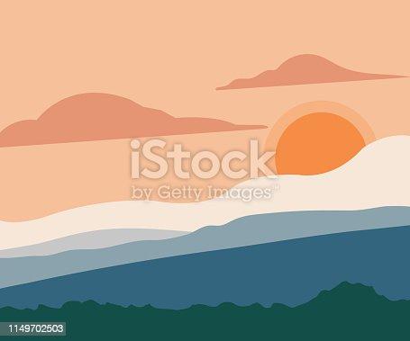 Desert, Mountain, Sunset, Vector, Mountain Range