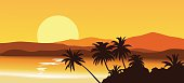 Tropical sunset with silhouette of palm trees. Vector illustration. Eps 10.