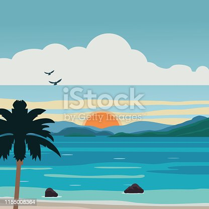 Beach, Sunset, Tropical Climate, Backgrounds, Palm Tree