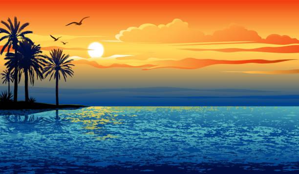 wyspa słońca - zachód słońca stock illustrations