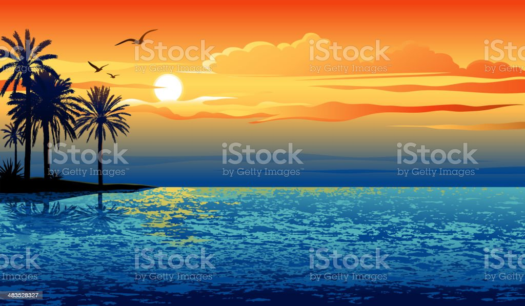 Sunset island vector art illustration
