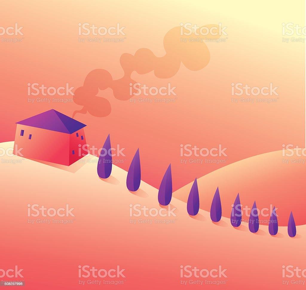 Sunset Italian view vector art illustration