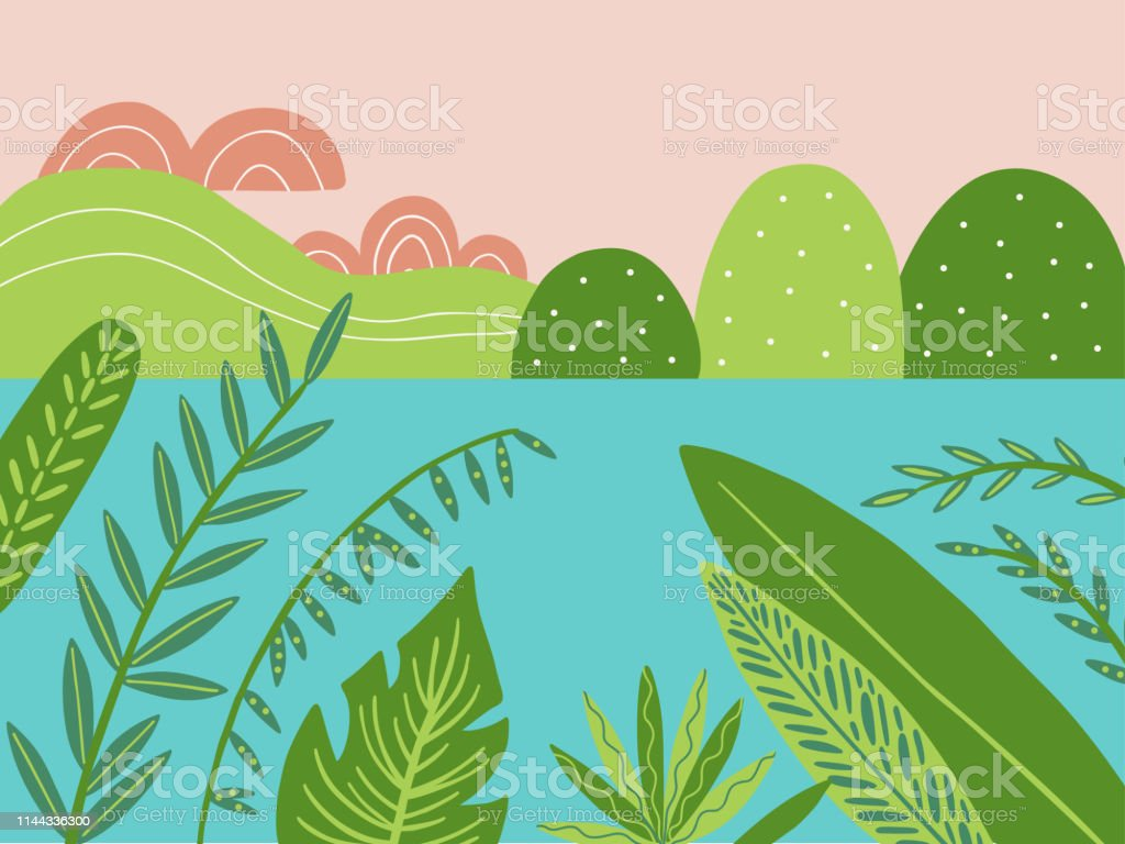 Sunset Landscape Vector Illustration In Doodle Style Plants River And Tropical Leaves Hand Drawn Background Stock Illustration Download Image Now Istock Download 26,559 tropical free vectors. https www istockphoto com vector sunset landscape vector illustration in doodle style plants river and tropical gm1144336300 307606712