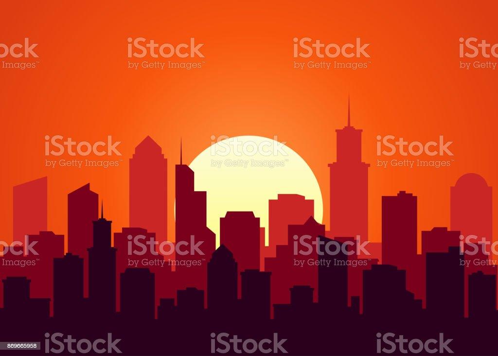 Evening cityscape vector illustration. Sunset landscape concept. City...