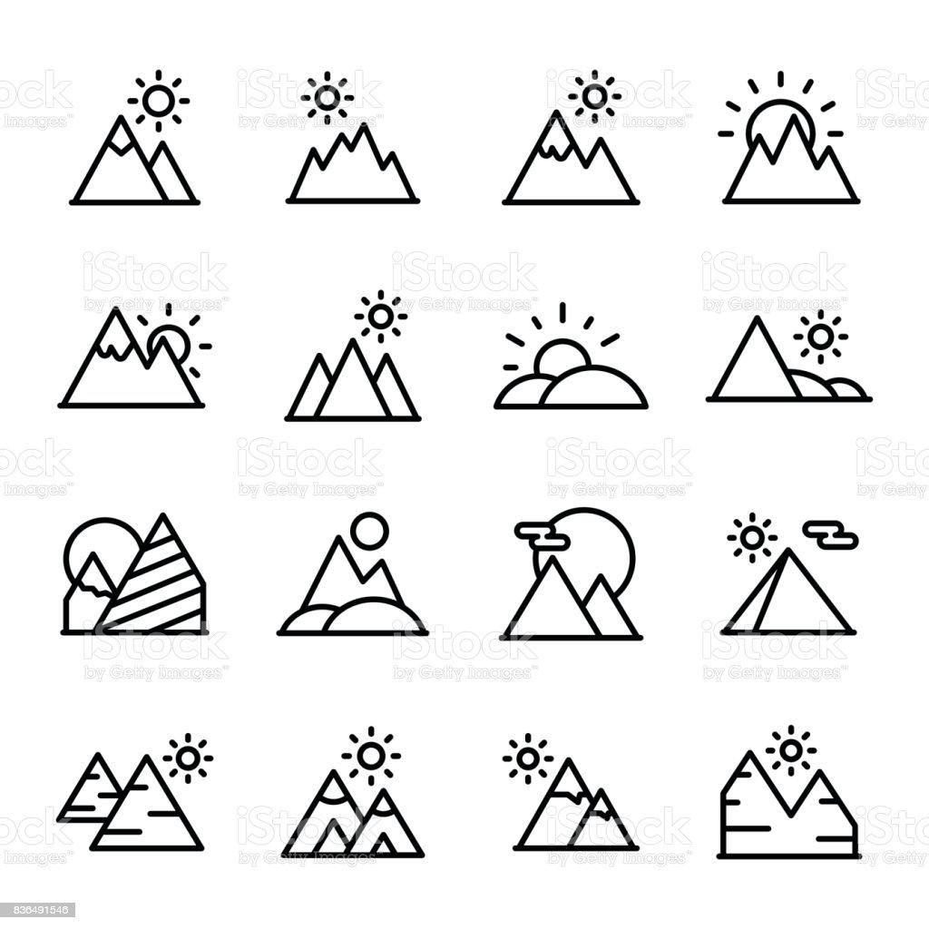 Sunset Line Vector Icons Set vector art illustration