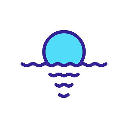 sunset ocean icon vector outline illustration