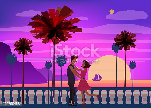 Sunset ocean, sea, palm trees, mountains, embankment, the setting sun, seascape. Meeting a couple in love romance love