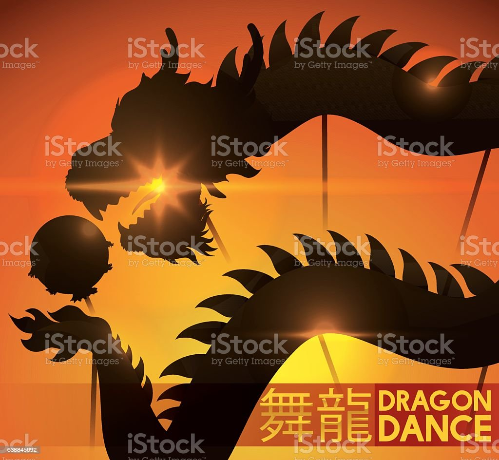 Sunset of Spring Festival with View of Dragon Dance Silhouette vector art illustration