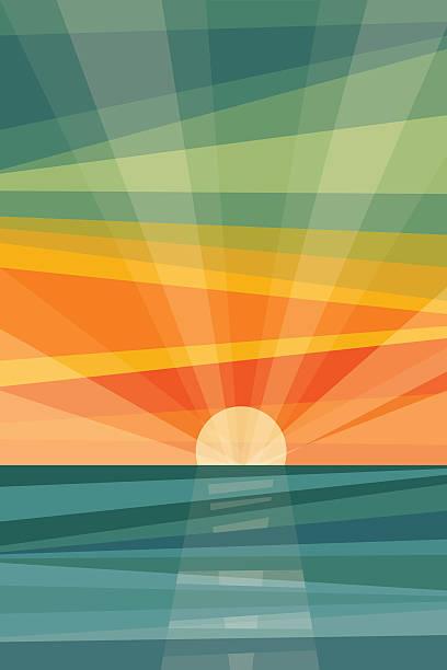 zachód słońca na plaży. geometryczne tło - sunset stock illustrations