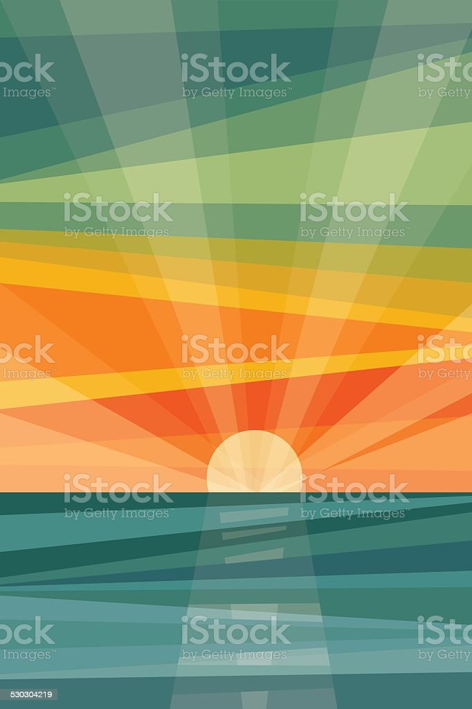 Sunset on beach. Geometric abstract vector art illustration