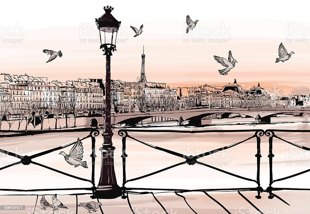 Sunset on Seine river from Pont des arts in Paris