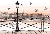 Sunset on Seine river from Pont des arts in Paris