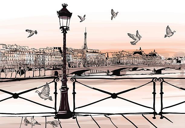 sunset on seine river from pont des arts in paris - paris stock illustrations, clip art, cartoons, & icons