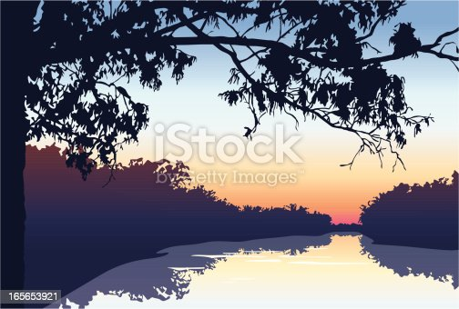 Vector illustration of a beautiful sunset on the river with forest surroundings.