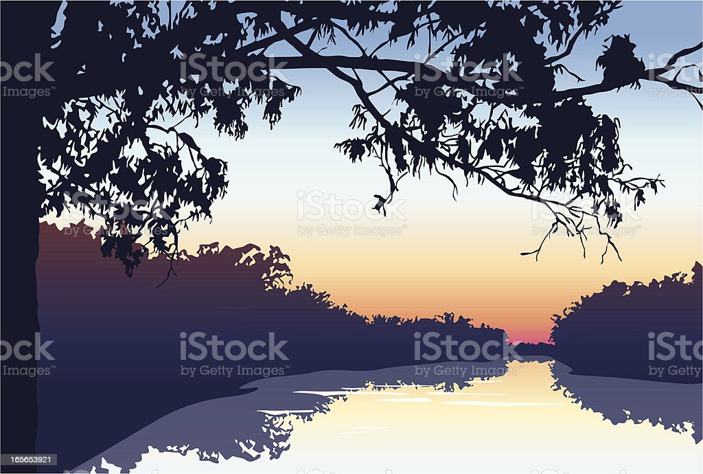 Sunset on the river vector art illustration
