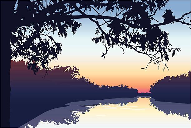 해질녘까지 강을 따라 - 강둑 stock illustrations