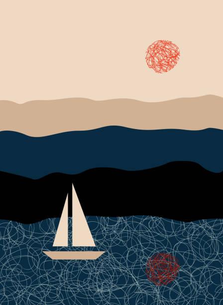illustrazioni stock, clip art, cartoni animati e icone di tendenza di sunset on the sea - fiordi