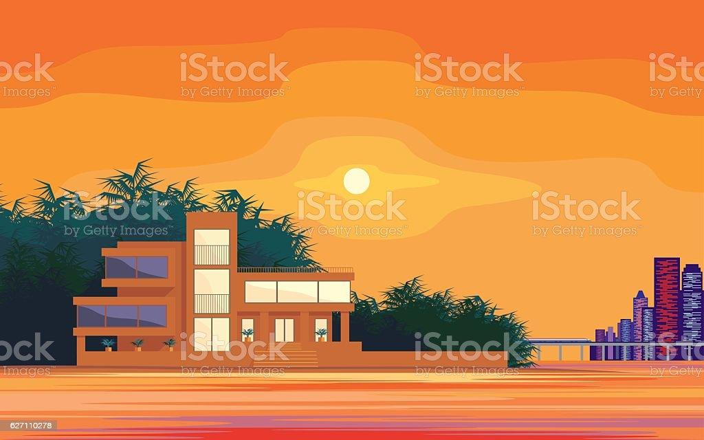 sunset on the sea vector art illustration