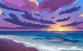 istock Sunset or sunrise, dawn at sea with clouds in the sky. The ocean shore with waves rolling on it and sea foam. Beautiful landscape. Cartoon vector illustration. 1256445574