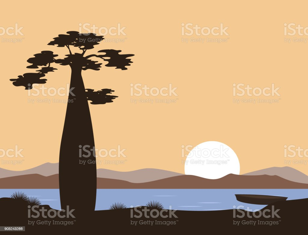 Sunset or sunrise in Africa. Baobab and the lake. Vector landscape. Illustration can be used in brochures, postcards, banner. vector art illustration