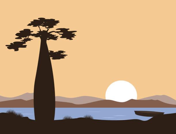Puesta del sol o amanecer en África. Baobab y el lago. Paisaje de vector. Ilustración puede ser utilizada en folletos, postales, banners. - ilustración de arte vectorial